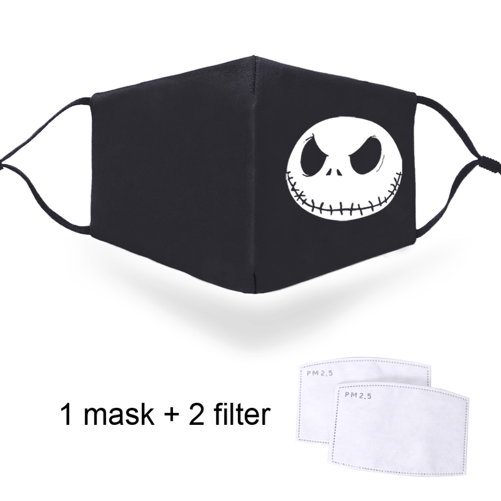 Jack Skellington Print Filters Face Masks Dustproof Washable Male Mouth Muffle With 2 Filters Mask With Adjustable Straps Masks