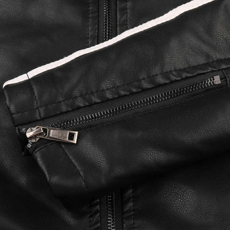 男性の革の PU ジャケット 2019 冬の新オートバイフリースボンバージャケット男性カジュアルなアウターウェアフェイクレザージッパーコートスリムフィット