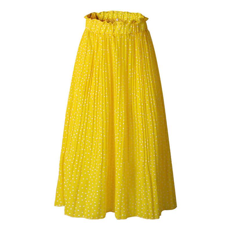 Zomer Stippen Bloemenprint Geplooide Lange Rok Vrouwen Mode Hoge Taille Zakken Bodem Elegante Rokken