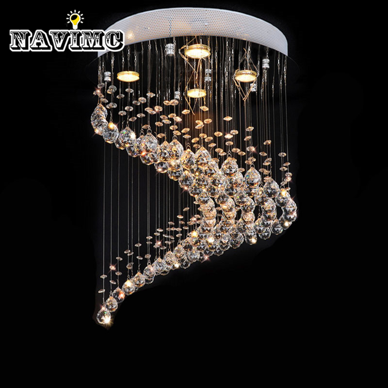 Lampe d'éclairage de décoration de maison de lustre en cristal de conception intégrée par spirale moderne