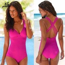 Новое поступление, Цельный купальник для женщин, винтажные купальные костюмы размера плюс, одежда для плавания, пляжная одежда с набивкой, одежда для плавания, Одноцветный Монокини