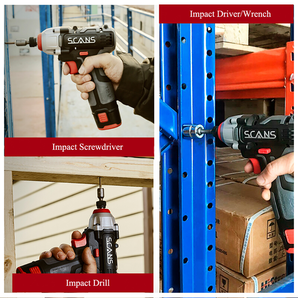 Tools : SCANS SC2121 Professional Power Tool 12V  Cordless  Lithium Impact Driver  Impact Screwdriver