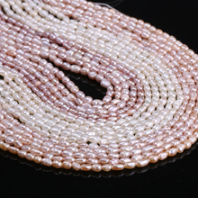 2-5 Mm Natural Freshwater Cultured Pearls Beads for Jewelry Making Rice Shape Nacklacce DIY Strand 13 Inches