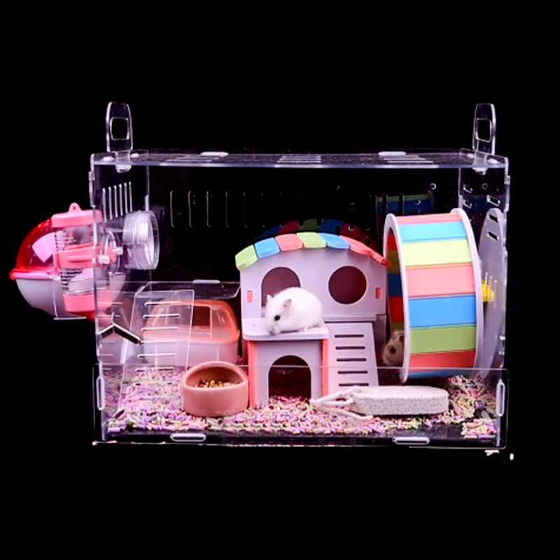 Mini Pet Rat Casa Criceto Scoiattolo Piccolo Animale Villa Pet Sleeping Bed Gioco Nido Altalena Gabbie Giocattoli Accessori