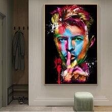 Portre David Bowie dekoratif tablolar baskı tuval sanat posterler ve baskılar grafiti sanat David Bowie resimleri ev dekorasyonu