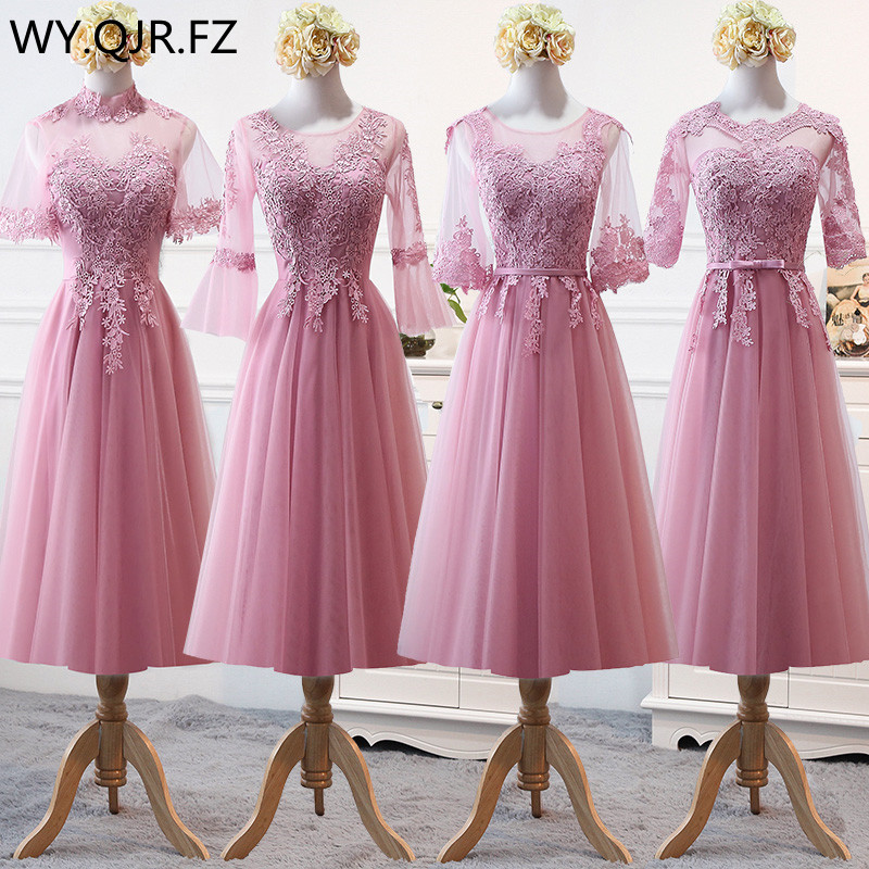 MNZ-9858Z#Bridesmaid's Dress Medium Sleeve And Long-style New Winter Of 2019 Lace Up Pale Mauve Christmas Dresses Girl Wholesale