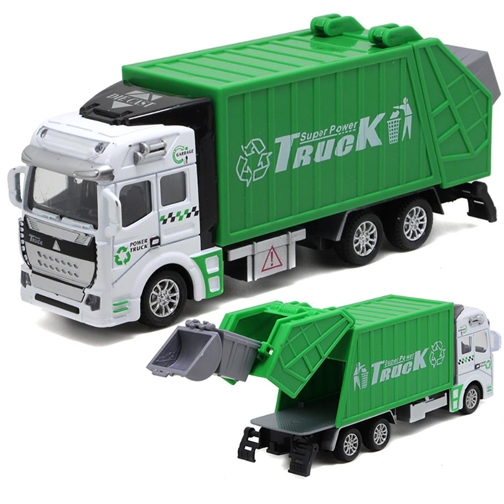 Mini 1/48 High Simulation Garbage Inertia Truck Model With Trash Can Kids Children Toys Birthday Gift