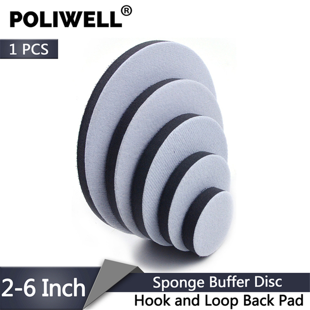 POLIWELL 1 ADET 2 inç 3 inç 4 inç 5 inç 6 inç Kanca & Döngü Geri Yumuşak Sünger Tampon disk havalı zımpara Destek Pedi Zımpara Pedleri