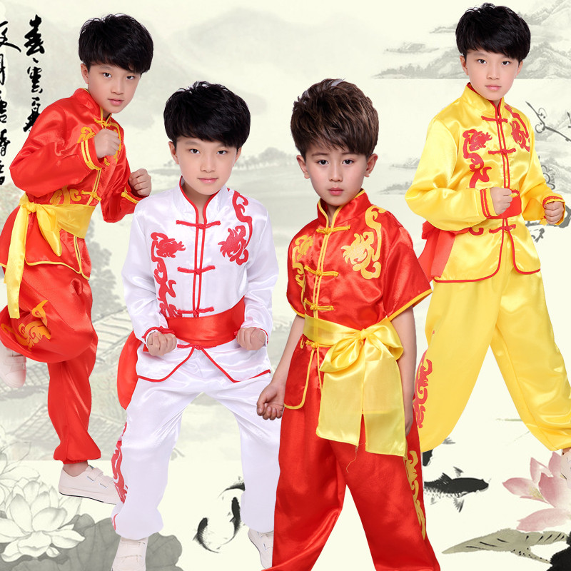 2019 Chinese Kungfu Uniform Girls Boys Children Wushu Martial Arts Sets Stage Performance Suit Traditional Costumes For Kids