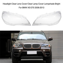 2Pcs Left+Right Lamp Cover Headlight Lampshade Lens for BMW X5 E70 2008-2013 Headlamp Glass Mask Car Parts Shell
