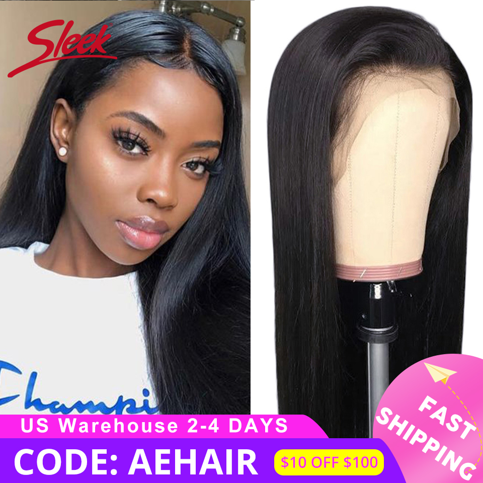 Sleek Brazilian Remy 13x4 Lace Front Human Hair Wigs 12-28 30 Straight 150% Density Human Hair Wigs Pre Plucked With Baby Hair
