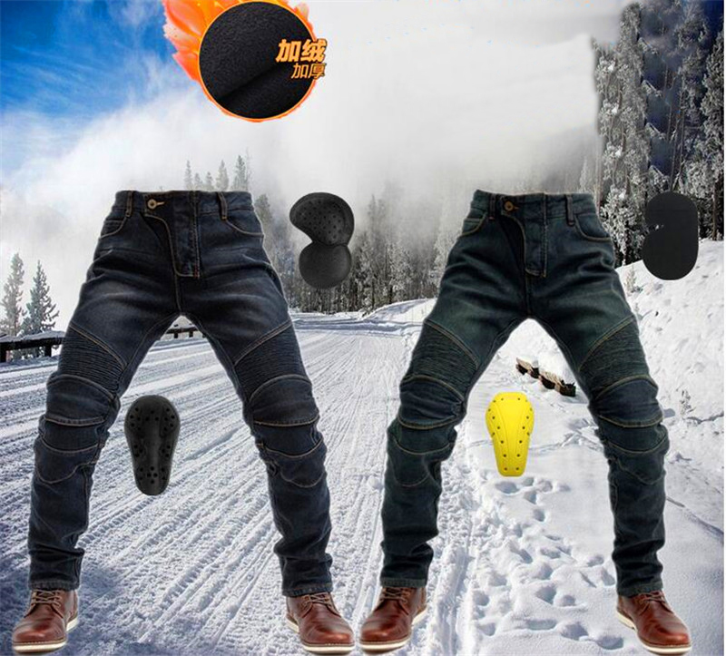 Winter New Kominie Riding Plus Velvet Thick Motorcycle Rider Jeans Anti-fall Pants Motorcycle Racing With Protective Gear