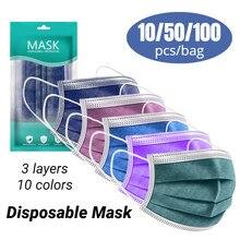 Mascarilla facial desechable para adultos, máscara Personal de 3 capas con sujeción para las orejas, 10 Uds./50 Uds./100 Uds.