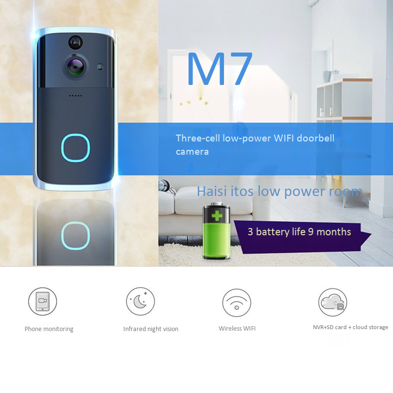 Promotion--M7 720P Smart Wifi Video Doorbell Camera Visual Intercom With Chime Night-Vision Ip Door Bell Wireless Home Security
