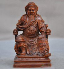 wedding decoration Old Chinese Boxwood wood hand carved Dragon Guan Gong Guan Yu Warrior God Statue