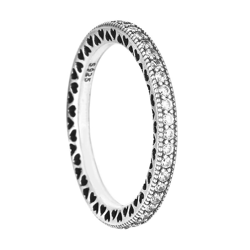 925 Серебряное кольцо Pave Стекируемые