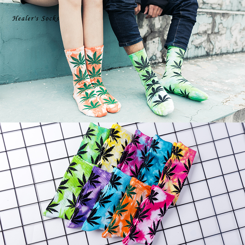Fashion Women Men Ankle Cotton Socks Hemp Color Maple Leaf Female Dazzling Cheap Funny Happy Weed Skateboard Hip Hop Tube Socks
