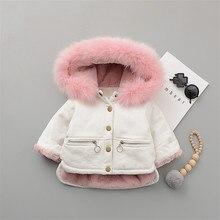 2021 Fleece Toddler Girl Jacket Denim Warm Fur Hoodie Kids Winter Clothes Cotton Thick Baby Boy Coats Jeans Children Outerwear