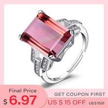 JewelryPalace 6ct Emerald Cut Nano Simulated Zultanite Color Change Diaspore Open Adjustable Cocktail Ring 925 Sterling Silver