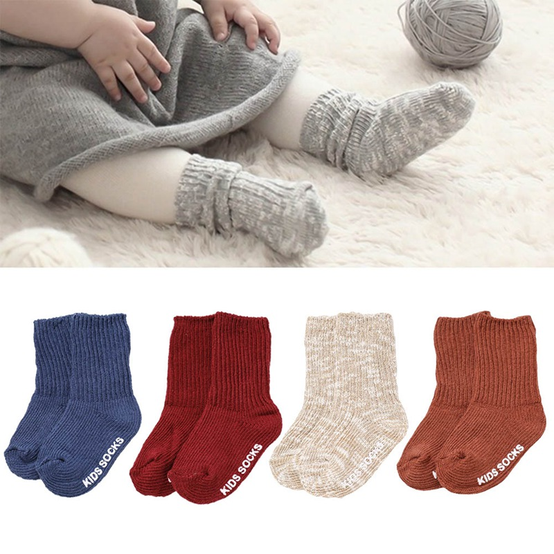 13 Colors Cotton Baby Socks Boy Girls Kids Anti Slip Socks Thick Keep Warm Winter Floor Ankle Wool Sock For 0-4 Years