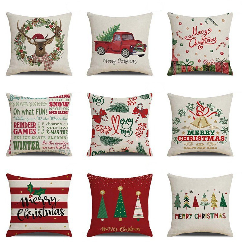 Home Decor Christmas XMAS Pillow Case Cotton Linen Pillow Cushion Cover Throw