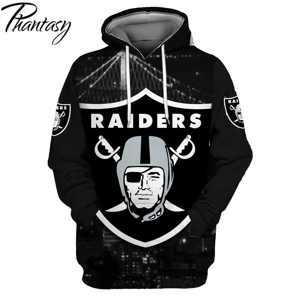 Phantasy 2020 Men's Fashion With Hat Raiders 3D Print Hooded Pullover Unisex Clothing American Football Hoodie