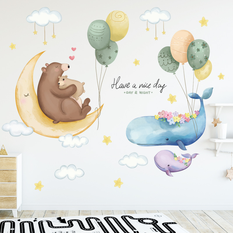 8 styles cartoon wall stickers for kids room baby room nursery eco-friendly vinyl wall decals removable wall murals home decor