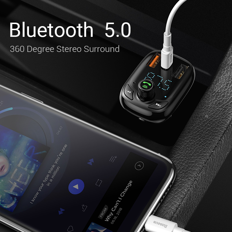 Image 3 - Baseus Quick Charge 4.0 Car Charger with FM Transmitter Bluetooth Handsfree FM Modulator PD 3.0 Fast USB Car Charger For iPhone-in Car Chargers from Cellphones & Telecommunications on
