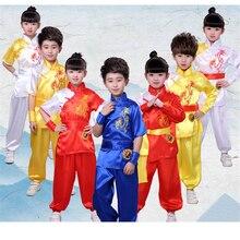 Традиционная китайская одежда для мужчин Дети Вышивка Дракон Униформа кунг-фу восточные дети Тай Чи у Шу Шао Лин костюмы