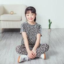 Комплект одежды для девочек 2020 летняя одежда с леопардовым