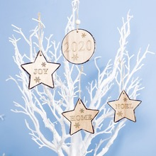 New Letters And Snowflake Engraved Wooden Christmas Pendants Decorative Xmas Tree Hanging Ornaments Holiday Indoor Decor