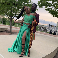 Satin Prom Dresses Two Pieces Off the Shoulder Lace Appliques Top 2 in 1 Black Girls Graduation Gowns