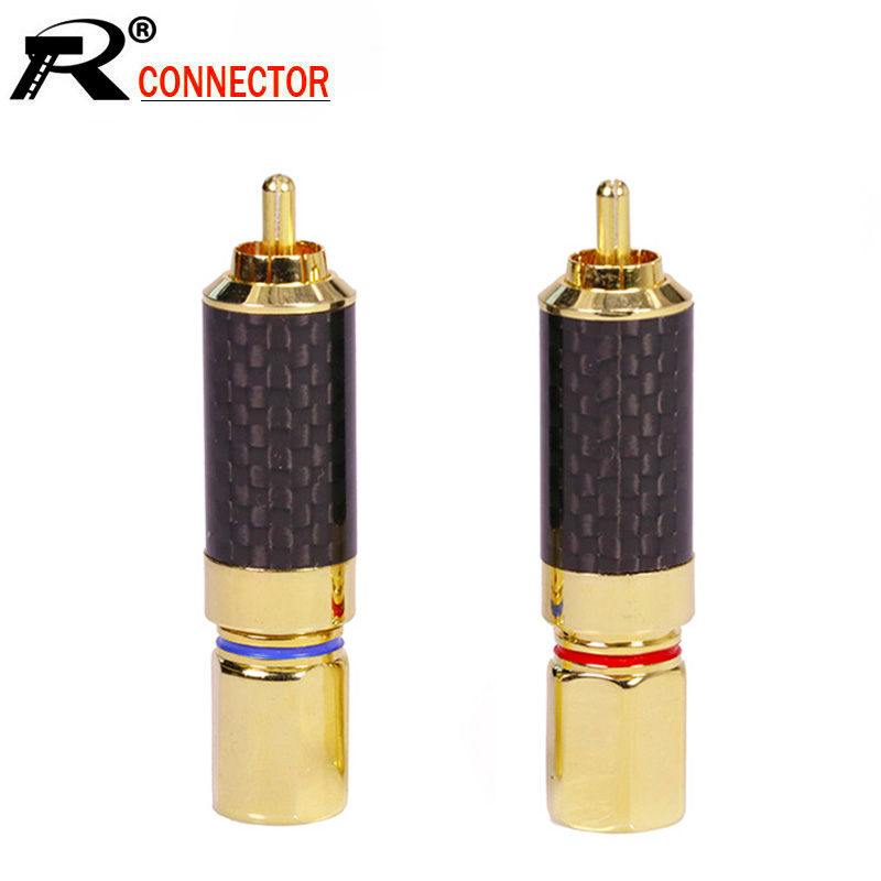 10pcs lot Luxury Copper RCA Connector Gold Plated RCA Male Plug Screw Type Soldering Wire Connector