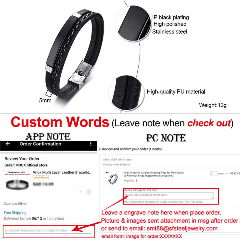 Vnox Unique Sew Lines Genuine Leather Bracelets for Men Women Personalize Stainless Steel Bar Layered Bangle Causal Pulseira