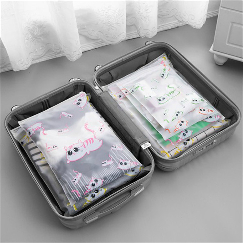 Cartoon Cat Transparent Cosmetic Bag Travel Makeup Case Women Zipper Make Up Organizer Storage Pouch Toiletry Wash Bath Kit