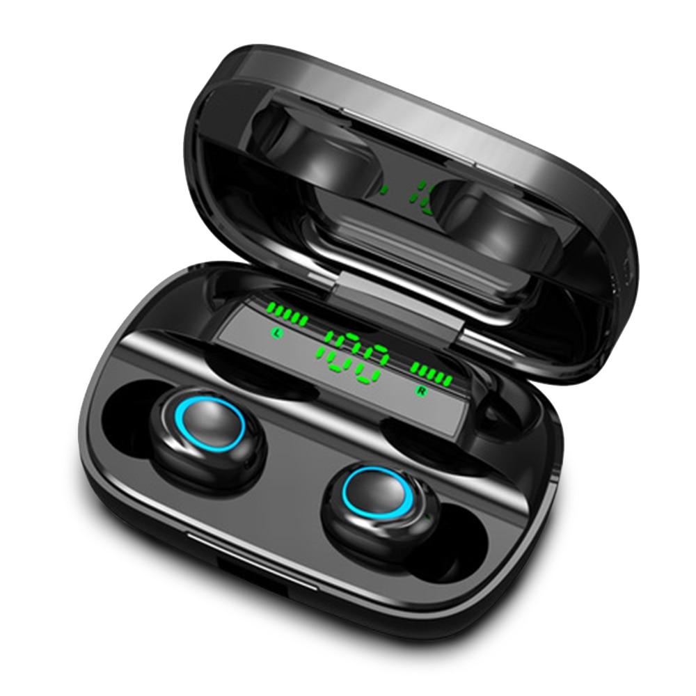S11 TWS 3500 мАч Внешний аккумулятор наушники светодиодный Bluetooth 5,0 наушники беспроводные HIFI стерео наушники игровая гарнитура с микрофоном - Цвет: LED Black