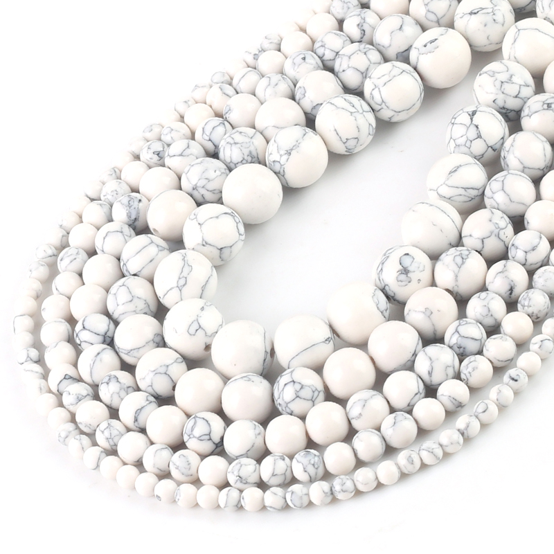 Wholesale Natural White Howlite Turquoises Round Loose Beads <font><b>4</b></font> <font><b>6</b></font> 8 10 <font><b>12</b></font> Bracelet Fit Diy Charm Beads For Jewelry Making image