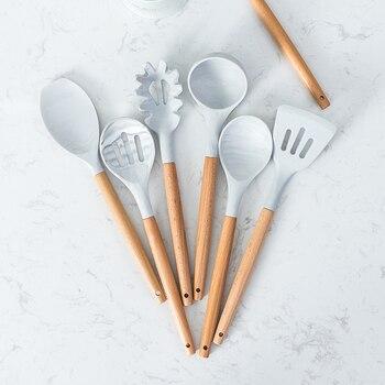 10/11PCS Premium Silicone Utensils Set Non-stick Spatula Shovel Wooden Handle Cookware Set With Storage Box Kitchen Tools 2