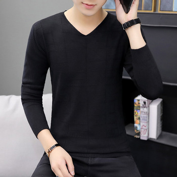 цена на Fashion Mens Sweaters for 2019 V-Neck Low Collar Sweater Men Casual Knitting Thin Sweaters Pullover Clothing Men Sweater