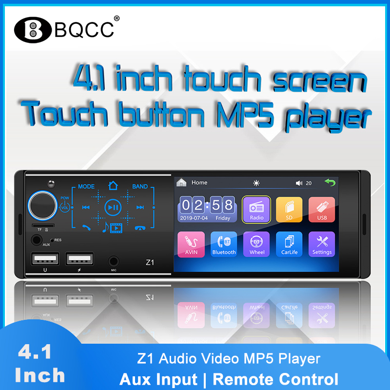 1 Din Touch Screen Car Radio 4.1 Inch Z1 MP5 Video Player Bluetooth USB TF Aux Input Microphone Radio Colorful Light