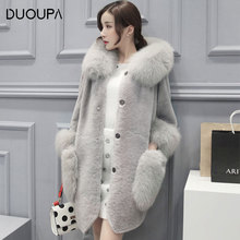 DUOUPA 2019 New Women's Fashion Korean Version of the Winter Imitation Faux Fur Coat in the Long Section Large Size Coat Female цена