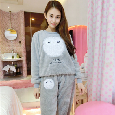 Winter Velvet Pajama Women Round Neck Pyjamas Femme Flannel Pijama Set Warm 2 Pcs Pj Set Homewear Women Thick Nightwear