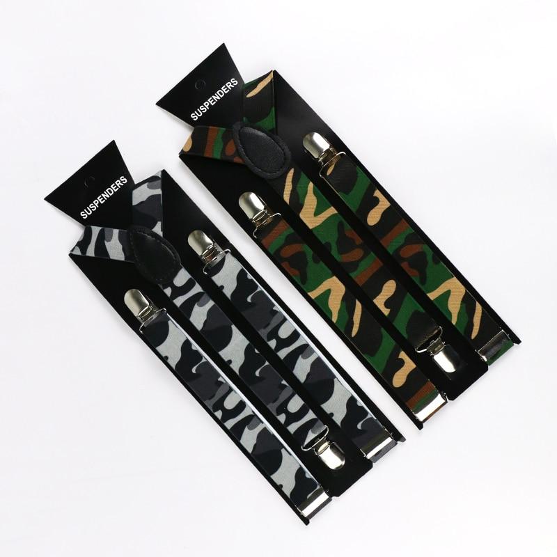HUOBAO Camo Mens Trouser Suspenders 1 Inch Wide Y-Shape Army Green Camouflage Suspenders Mens Braces