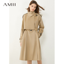 AMII Minimalism Autumn Fashion Women Windbreaker Simple Solid Lapel Double breasted Belt Women Overcoat Female Coat 12040368