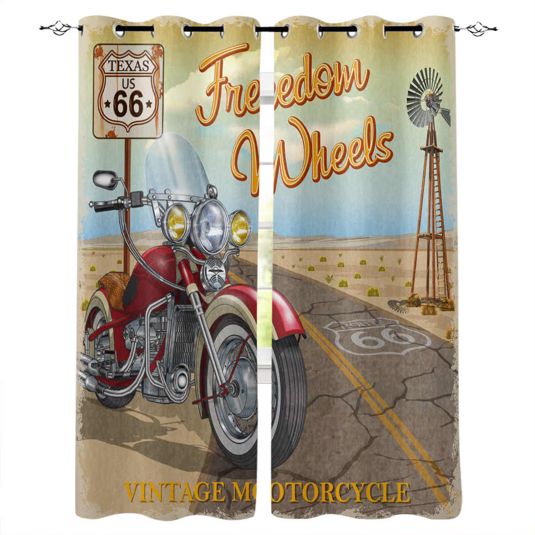 Highway Motorcycle Retro Style Modern Luxury Curtains Living Room Bathroom Kitchen Household Products Aliexpress