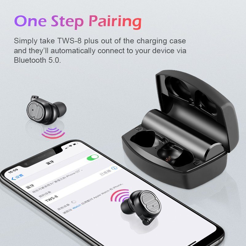 Wireless Bluetooth Earbuds with Portable Charging Case Anti-Sweat Earplugs Gym Running 88 Long Battery Life in-Ear Noise Cancelling Stereo Headset for All Smartphones