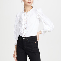 Runway Designer Tops 2019 Autumn Elegant Ruffled Long Sleeve White/Khaki Cotton Blouses Womens