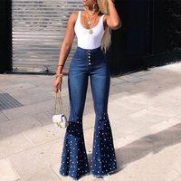 Fashion Denim Flare Pants Women Retro Beading Jeans Wide Leg Trousers Lady 2019 Autumn High Waist Loose Casual Flare Pant Female