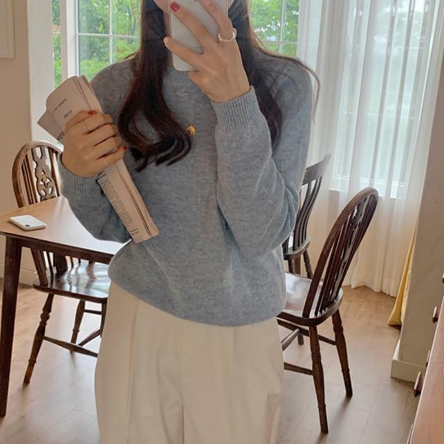 Фото новинка повседневный свитер женский пуловер повседневный вязаный цена