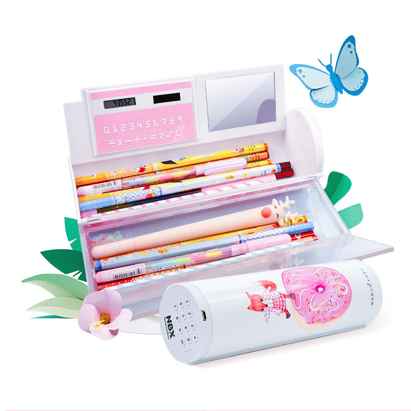 2020 Newmebox NBX Multifunction Password Lock Pencil Case Creative Quicksand Translucent Cylindrical Stationery Box Ipen Holder